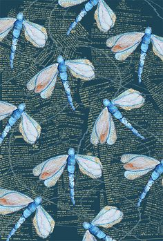 ♈ Dragonfly Versailles ♈ dragonflies in art, photography, jewelry, crafts, home & garden decor - blue dragonfly print Textile Prints, Textile Patterns, Textile Design, Pretty Patterns, Patterns In Nature, Surface Pattern Design, Pattern Art, Decoupage, Blue Dragonfly
