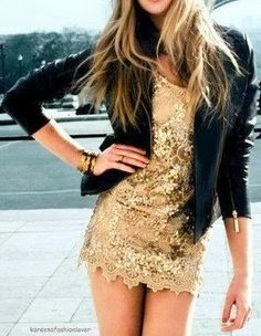 Golden party dress with leather jacket