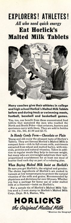 Horlick's Malted Milk Tablets 1939...ok, but I'm not THAT old.