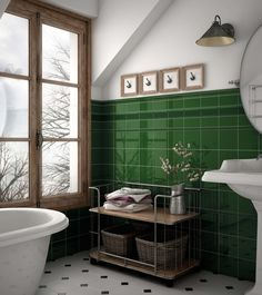 Incredible Small Bathroom Style That Will Rock Your Home Green Tile Bathroom, Small Bathroom, Bathroom Interior Design, Victorian Bathroom, Bathroom Design, Green Bathroom, Mold In Bathroom, Tile Bathroom, Green Kitchen Decor