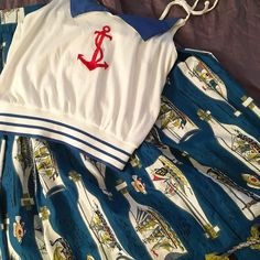 Ships in Bottles Vintage Love, Vintage Skirt, Ship In Bottle, Novelty Print, Cheer Skirts, Bathing, Nautical, Bottles, Ships
