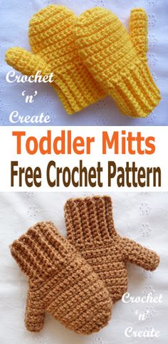 A free quick to make pair of crochet toddler mitts pattern. #crochetncreate #crochet #crochetmittens