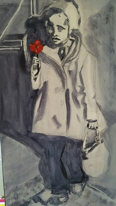 Underpinning of Girl with Poppy - in oils