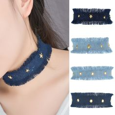 Fashion Blue Denim Chokers Women Jewelry Handmade Jeans Choker Necklace With Holes & Star Statement Tassel Necklaces collares #Affiliate