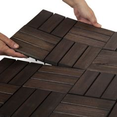 Twelve Slat Deck Tiles - Mahogany - Box of 10 by Garden Winds on amazon.com ~$45/ 10 pack (10 sq ft) ... even though it is made for outdoor decking (i.e. over concrete patio, etc.), I'm thinking of using it for the laundry/ mud room flooring? (over existing laminate)