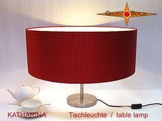 Tischleuchte KATHARINA Ø 50 cm Tischlampe Seide Rot Jacquard. Festlich und edel und wie ein Juwel im Raum -in trendigem Großformat -in royalem Rot: Maße des Schirms: oberer und unterer Ø 50 cm, Höhe: 22 cm.