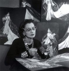 Chanel at work in her studio, 1937-1938