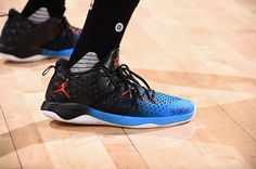 Jordan Extra Fly OAKLAND, CA - NOVEMBER 3: Shoes of Victor Oladipo #5 of the Oklahoma City Thunder before the game against the Golden State Warriors on November 3, 2016 at ORACLE Arena in Oakland, California.