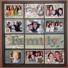 """Sweet """"Family"""" Scrapping Page...highlighted in a display case. By Kay's Creative and Guiding Light, Aug. 13, 2012 post - kpekin blogspot."""