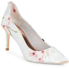 Ted Baker London Women's Vyixin Floral Printed Pumps ($114) ❤ liked on Polyvore featuring shoes, pumps, oriental blue, floral shoes, blue pumps, floral-print shoes, pointed toe shoes and blue shoes