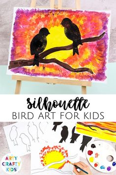 Looking for bird art projects for kids to make at home or at school? This silhouette bird art project for kids is beautiful + easy for children to make with our printable stencils. Get the printable stencils + step by step instructions for this silhouette bird art for kids project + other easy silhouette art projects for kids here! Bird Art for Kids Children | Beautiful Bird Silhouette Art Templates for Kids | Bird Silhouette Art Paintings | Silhouette Art Painting Ideas | Art Ideas for kids Easy Arts And Crafts, Crafts For Kids To Make, Art For Kids, Kids Crafts, Painting Activities, Art Activities For Kids, Easy Art Projects, Projects For Kids, Bird Silhouette Art