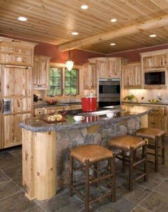 Art Wisconsin Log Homes Photo Gallery -- Log Home Kitchens dream-homes Rustic Kitchen Cabinets, Kitchen Decor, Rustic Hickory Cabinets, Knotty Pine Kitchen, Kitchen Ideas, Wooden Kitchen, Küchen Design, House Design, Design Ideas