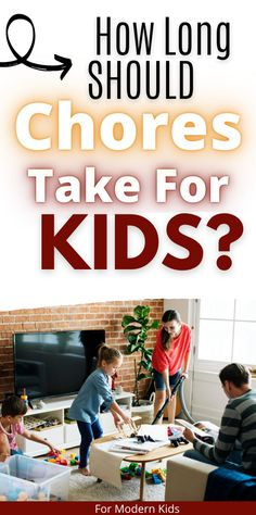 You have the perfect age appropriate chores for kids but do you know how long they should take to complete? Get an age-by-age guide for kids chores and how to time them correctly. #choresforkids Allowance Chart, Chores And Allowance, Chores For Kids By Age, Age Appropriate Chores For Kids, Charts For Kids, Part Time Jobs, Each Day, Modern Kids, 4 Year Olds