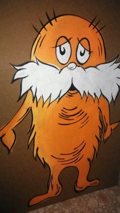 Made this lorax painting on a piece of cardboard for my Dr. Seuss theme baby shower