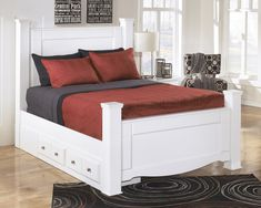 Ashley Weeki E King Storage Bed In White >>> Click image for more details. (This is an affiliate link) #AshleyBedroomFurniture