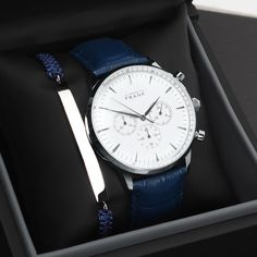 The Montpellier white chronograph and Blue wool plate bracelet.  www.Grandfrank.com