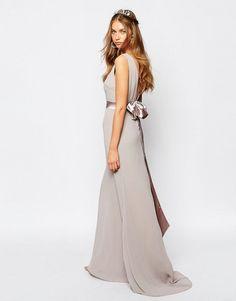 TFNC   TFNC WEDDING Sateen Bow Back Maxi Dress