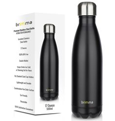Brimma Vacuum Insulated Water Bottle - 17 Oz Double Wall Stainless Steel Travel Bottle For Hot  Cold Drinks - No Sweat, Leak Proof, BPA Free Thermos Flask * This is an Amazon Affiliate link. You can get additional details at the image link.