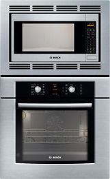 """Bosch - 500 Series 30"""" Single Electric Convection Wall Oven with Built-In Microwave - Stainless-Steel  Model: HBL5750UC SKU: 5289978"""