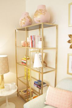 Painted gold IKEA VITTSJO shelves by decorator Ana Antunes - Home Styling