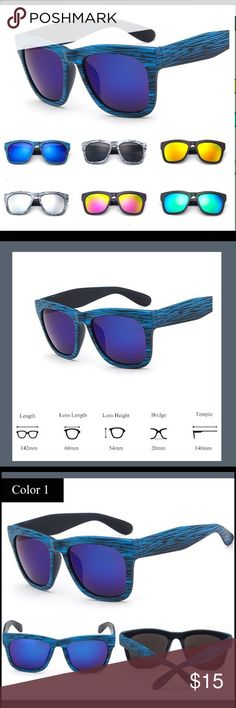 Blue Wood Grain Look Fashion Sunglasses Unisex Blue Wood Grain Look. Unisex Adult One Size. Haus of Vintage 1984 Accessories Sunglasses