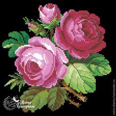 """Вышивка ручной работы. Ярмарка Мастеров - ручная работа. Купить Схема вышивки """"Розовые розы"""". Handmade. Схема для вышивки Cross Stitch Rose, Cross Stitch Flowers, Cross Stitch Patterns, Bunch Of Flowers, Diy Flowers, Rose Rise, Wool Embroidery, Vintage Cross Stitches, Rose Art"""