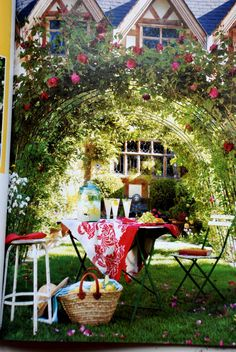 Magazine clipping of beautiful rose arch
