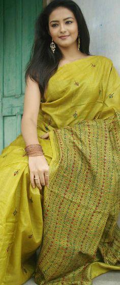 Bishnupur Tussar silk saree with kantha stitch embroidery from shantiniketan