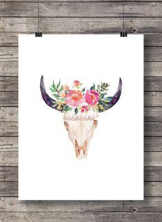 Cráneo de impresión, acuarela de flores, para imprimir, Toro vaca del cráneo, mano pintada, arte de la pared del cráneo, descarga inmediata, decoración rústica, decoración casera, imprimir Comprar 2 obtener 1 código de cupón: FREEBIE HECHO CON AMOR ♥ 18 x 20 imprimir fácilmente