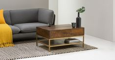 Lomond Lift Top Coffee Table with Storage, Mango wood and Brass No dining room? Join the (breakfast) club. Brass Coffee Table, Lift Top Coffee Table, Cool Coffee Tables, Coffee Table With Storage, Coffee Pot Cleaning, Nyc Coffee Shop, Home Coffee Machines, Simple Living Room, Table Storage