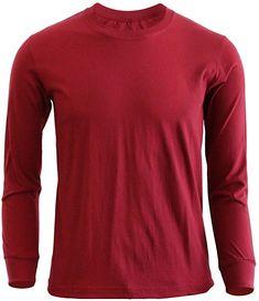 BCPOLO Round neckstyle Cotton long sleeve daily fashion t-shirt / Maroon XS Casual T Shirts, Sports Shirts, Daily Fashion, Shirt Style, Fashion Brands, Polo Shirt, Turtle Neck, Menswear, Amazon