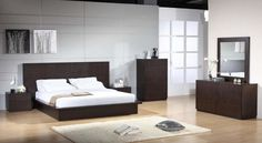 Bedroom,Pretentious Bedroom Inspiration With Stylish Dark Brown Low Profile Bed And Soft White Mattress Also Cool Dark Brown Case Wardrobe On Combined Modern Laminate Flooring For Elegant Concept,Modern Bedroom Inspiration