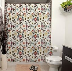 Wired Flower Small Print Pattern Shower by JanetAnteparaDesigns, $65.00 This pattern is my version of a modern day Fleur de Lis with splashes of swirls, flowers, polka dots and other whimsical shapes.  Also see: Wired Flower Pattern, Shower Curtain for a bigger print version of this curtain.  #showercurtain #bathroom #homedecor #home #curtain #bath #shower #floral #floralprint #fleurdelis #floralprint #cafepress