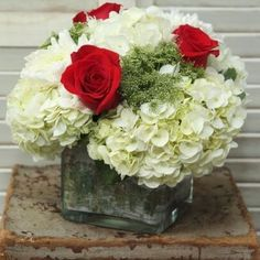 white hydrangea and red rose centerpieces - Google Search