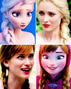 DISNEY EYES ARE UNNATURAL SO OTHERWISE THEY PRETTY MUCH LOOK THE SAME. THE NOSES MAY BE A LITTLE DIFFERENT ON ELSA.