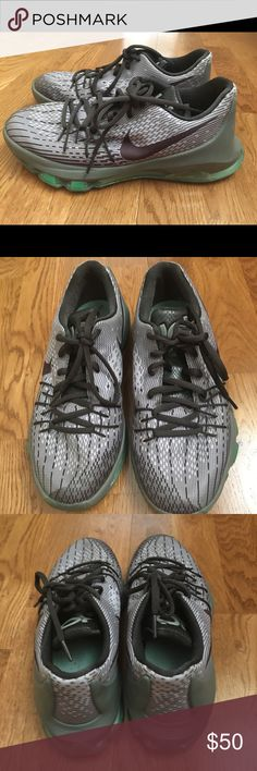 Nike KD 8 Gray/green Nike KD 8 hardly worn Nike Shoes Sneakers