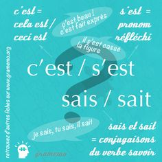 French vocabulary and grammar French Learning Books, French Language Learning, Teaching French, French Verbs, French Grammar, Learn French, Learn English, How To Teach Grammar, Les Homophones