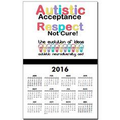 Autistic Acceptance #Calendar Print #Autism #ASD #Aspergers #Neurodiversity #AutisticAcceptance