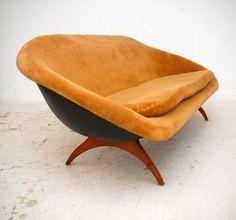 Anonymous; Fiberglass and Wood Sofa by Lurashell, 1960s.