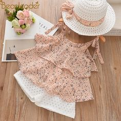 Melario Casual Girls Clothing Sets Summer Kids Clothing Set Cute floral T-shirt shorts Suit Kids Clothes Girls Suit outfits. Kids Outfits Girls, Little Girl Dresses, Cute Baby Dresses, Girls Casual Dresses, Dress Girl, Baby Girl Fashion, Fashion Kids, Style Fashion, Baby Fashion Clothes