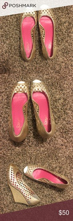 Lilly Pulitzer Gold Wedges Lilly Pulitzer gold wedges in size 8.5 Lilly Pulitzer Shoes Wedges