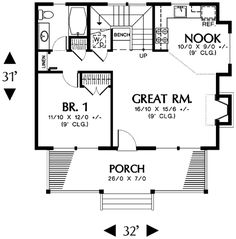 remove stairs enlage bath for wheelchair access, enlarge kitchen. Coastal Home Plans - Corbell Cottage II