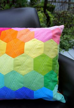 Rainbow Hexagon Pillow | Flickr - Photo Sharing!