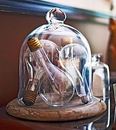 Dont know what to do with those cool vintage postcards or colorful campaign buttons? Heres how to showcase collectibles throughout your home. - DIY Home Decor Glass Dome Display, Glass Domes, Cloche Decor, Cool Vintage, Vintage Light Bulbs, The Bell Jar, Bell Jars, Antique Lighting, Displaying Collections