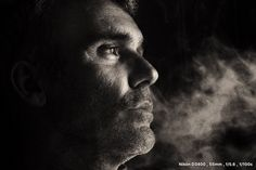 Men,black and white, portrait,smoke,window