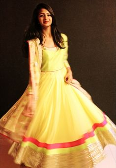 Cilvana designs. Lime green for the yolk and lime yellow for anarkali with a pink and gold border and a pretty dupatta.