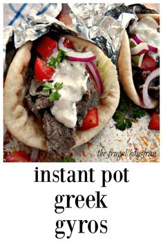 These Instant Pot Greek Gyros are different from most recipes; they're marinated for maximum flavor and they taste exotic, just like the original! You'll think you've died and gone to heaven (or at least to a restaurant! Greek Recipes, Meat Recipes, Crockpot Recipes, Cooking Recipes, Light Recipes, Easy Cooking, Best Instant Pot Recipe, Instant Pot Dinner Recipes, Casserole Recipes