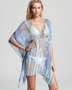 Echo Logo Stripe Short Caftan Swimsuit Coverup | Bloomingdale's