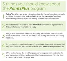 A guide to the new Weight Watchers PointsPlus system. Pictures, videos and charts to help you succeed in losing weight using Weight Watchers. Weight Watchers Points Chart, Weight Watcher Point System, Weight Watchers Tips, Weight Watchers Program, Losing Weight Tips, Weight Loss Tips, Lose Weight, Points Plus Recipes, Ww Recipes