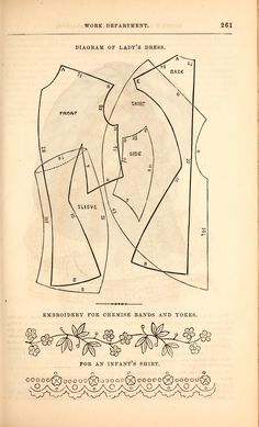A day dress from Godey's Ladies Book, 1860s. First page contains illustration and details about how to trim the dress.